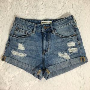 Bullhead High Rise Distressed Rolled Jean Shorts